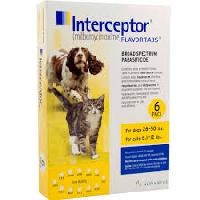 Rx Interceptor Yellow 6 x 11.5 mg for Dogs 26-50 lb Cats 6.1 - 12 lb   6 Dose