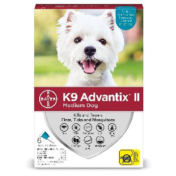 Bayer K9 Advantix II for Medium Dogs 11-20 pounds, Flea, Tick and Mosquito, 6 doses