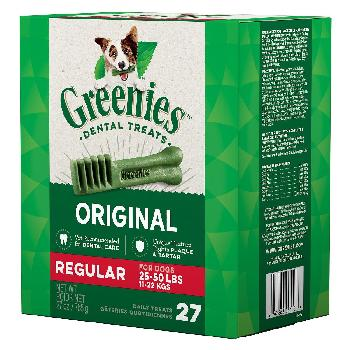 Greenies Original Regular Size Dog Dental Treats, 27 ounces, 27 count