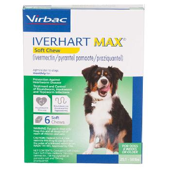 Rx Iverhart Max (ivermectin/pyrantel pamoate/praziquantel) Chewable Tablets for Medium Dogs, 25-50 pounds, 6 doses