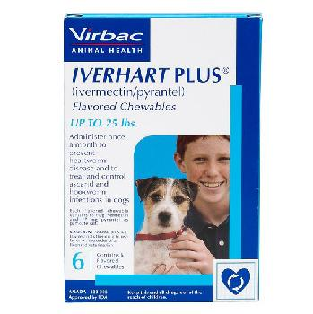 Rx Iverhart Plus (ivermectin/pyrantel) Flavored Chewables for Small Dogs up to 25 pounds, 6 doses