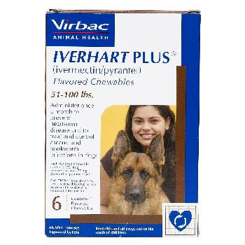 Rx Iverhart Plus (ivermectin/pyrantel) Flavored Chewables for Large Dogs, 51-100 pounds, 6 doses