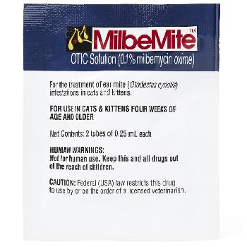 Rx MilbeMite OTIC Solution (0.1%milbemycin oxime), .25 ml per tube, 2 count