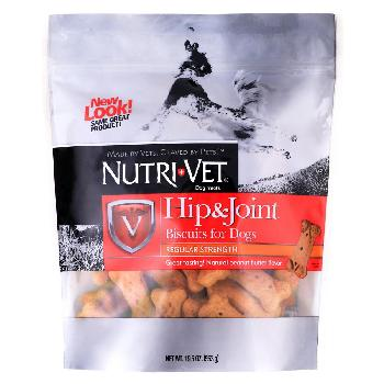 Nutri-Vet Hip and Joint Biscuits for Small to Medium Dogs, Regular Strength, Peanut Butter, 19.5 ounces