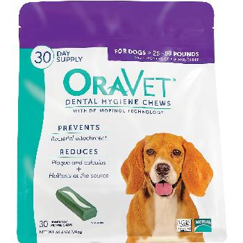 OraVet Dental Hygiene Chews for Medium Dogs 25-50 pounds, 30 count