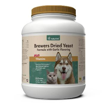 NaturVet Brewer's Dried Yeast With Garlic Powder Plus Vitamins for Dogs and Cats, 4 pounds