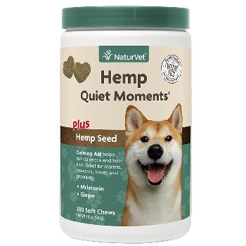 NaturVet Hemp Quiet Moments Calming Aid Soft Chews Plus Hemp Seed for Dogs, 180 count