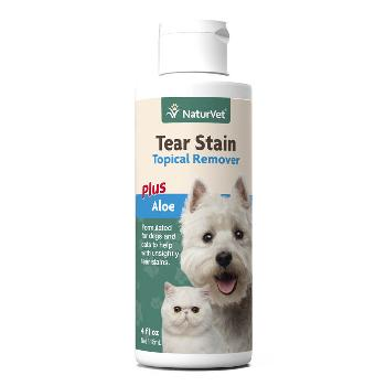 NaturVet Tear Stain Topical Remover Plus Aloe for Dogs and Cats, 4 ounces