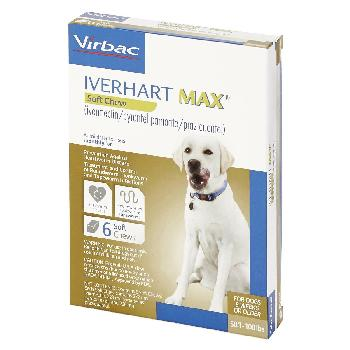 Rx Iverhart Max (ivermectin/pyrantel pamoate/praziquantel) Chewable Tablets for Large Dogs, 50-100 pounds, 6 doses