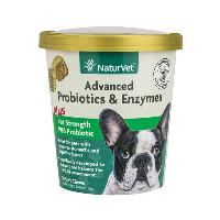 NaturVet Advanced Probiotics and Enzymes Soft Chews, Plus Vet Strength PB6 Probiotic, 70 count
