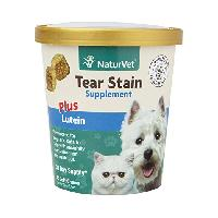 NaturVet Tear Stain Supplement Soft Chews Plus Lutein for Dogs and Cats, 70 count